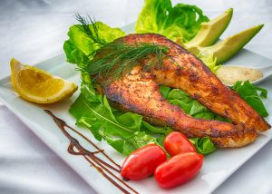 Dill Tomato Salad With Pan-Fried Salmon