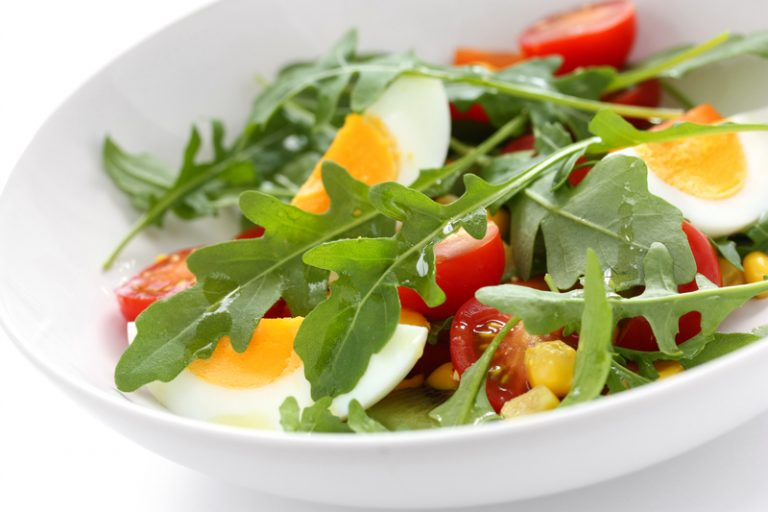 Hard-Boiled Egg, Bacon and Arugula Salad